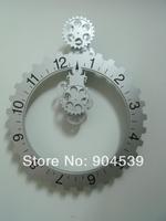 Wholesale 2Pcs/Lot Home Decor High Quality Modern Design Plastic Large Creative & Unique Gear Wall Clock/Watch, Black & Silver