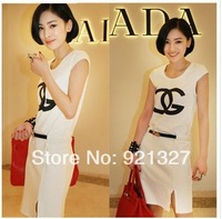 2014 Fashion women's Sleeveless letters neck summer dress loose Casual fold slim was thin sport dress free shipping