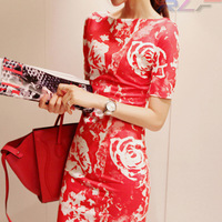 819 spring slit neckline slim print hip slim one-piece dress female short-sleeve print full dress