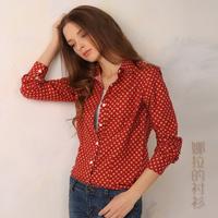 2014 Autumn  New Fashion 100% Cotton Women Blouse  Flannel Sanding Big Polka Dot Printing Women Blouse