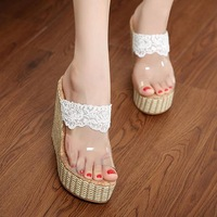 2014 women's summer shoes bohemia knitted open toe wedges sandals lace transparent sandals high heel slippers