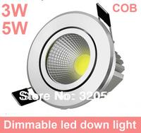 Free ship 20pcs/lot  3W 5W COB led down light  dimmable, 85~100LM/W AC85~265V wholesale LED ceiling light