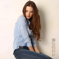 2014 Autumn New Fashion Hot Sale Slim 100% Cotton Grid Women Blouse Plus Size Fresh Casual All-match Women Blouse