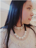 Fashion fashion 2014 brief elegant black and white all-match bead chain ladies elegant pearl necklace short design