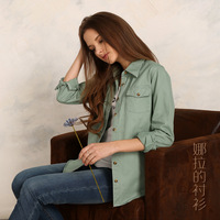 2014 New Arrival  New Fashion Pure Color Women Blouse 100% Cotton Thickening Casual Women Jeans Blouse  Jackets