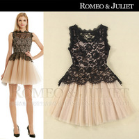 Fashion women's 2014 sexy black lace gauze elegant slim one-piece dress