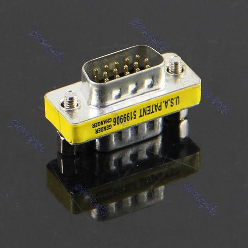 "M112""New VGA HD15 Male to Male M/M Mini Gender Changer Converter Adapter(China (Mainland))"