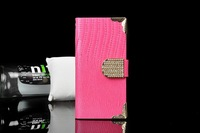 Freeshipping New Fashion Phone Cases luxury Rhinestone Case For Women Water/Dirt/Shock Proof IPHONE4/4S/5/5S PU leather Case