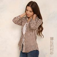 Hot Sale 2014 New Fashion Slim Small Check 100% Cotton Women Blouse Long-Sleeve Shirt Plus Size Casual Women Blouse