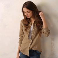 2014 New Autumn Fashion 100% Cotton Double-deck Cloth Dots Pocket Women Blouse Casual All-match Women Blouse Shirt Free Shipping