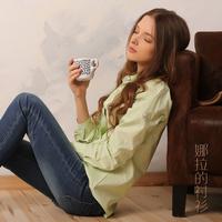 2014 Autumn And Winter New Fashion 100% Cotton  Women Blouse Solid Color Pocket Women Caual Blouse Shirt
