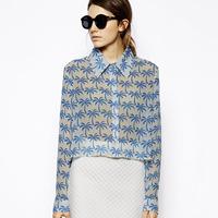 Print long-sleeve short design female chiffon shirt haoduoyi