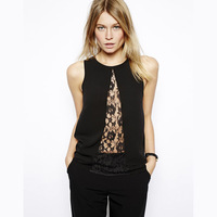 Front fly triangle lace perspective cutout sleeveless lace chiffon shirt haoduoyi patchwork