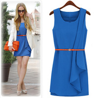 Fashion ruffle irregular pleated tank dress one-piece dress with belt 2 haoduoyi