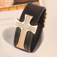 60pcs rhinestone BEST QUALITY 2014 New Europe America design Hippy style Christianity leather  Rhinestone Cross bracelet