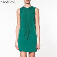 Irregular midsweet patchwork lines sleeveless vest tassel 3 haoduoyi one-piece dress