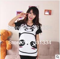 Ms. Pudding 2014 summer cute cartoon panda couple models round neck cotton T-shirt tide short sleeve T-shirt tops women