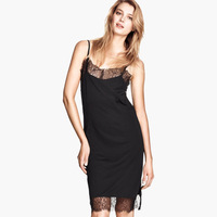 Fashion shoulder strap dress one-piece dress lace on both sides of the short vent 6 haoduoyi full