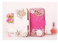 Free shipping New Style Flowers Butterfly Diamond Smooth Surface Leather Flip + Magnetic Buckle Case Cover For Samsung S4