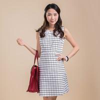 2014  summer New Printed Dress Summer high Waist Chiffon Casual Dress Women Sleeveless dress Vintage dress(TGX1408201A)