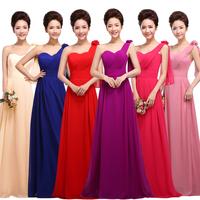 Long Evening Dresses 2014 Fashion Plus Size Wedding Party Dress Women Bride dress One Shoulder Chiffon Prom Dresses Custom made