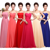 Evening Dresses 2014 New Fashion Women Sexy Party Dress Pink Chiffon Long Strapless Bridesmaid Dress Mother Of The Bride Dresses