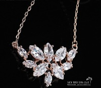N-007 40cm charm length 2.7*1cm  free shipping 4pcs/lot AAA zircon necklace crown pendent gold plated zircon necklace for women