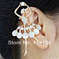 Free Shipping (Mixed order is USD15) Shinning opal dancing ballet girl earring cuffs