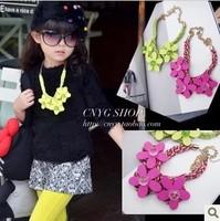 wholesale(5pcs/lot)- Children's clothing  girl  three-dimensional flower hemp rope necklace
