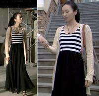 1028 Iotion black and white stripe vest patchwork black full dress all-match one-piece dress