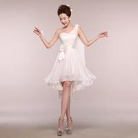 Cheap Party Dresses 2014 Fashion Wedding White Lace One Shoulder Chiffon Short Bridesmaid Dress Prom Dresses Plus Size