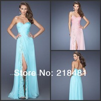 plz-01 2014new arrival real made sexy off the shoulder floor-length appliques chiffon evening dress