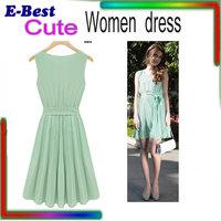 2014 New Summer Casual Women Elegance Bow Pleated Chiffon Vest Dresses Sleeveless Dress Vestidos, Green, Brown