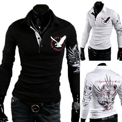 3XL Brand 2014 Man Tops Men's Long Sleeve T Shirts Men Tshirt Pullovers New Casual T-shirt Eagle Printing Mens Shirt R1571(China (Mainland))