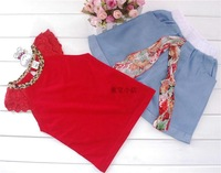 Free&Drop Shipping Girls Kids 5PCS Set Outfits Ruffled Sleeves T-shirt+ Bow-knot Jeans Pants