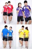 Free to Print Your Name and Logo 1 set  Korea National Victor Badminton Shirt + shorts Jersey Badminton Clothes set