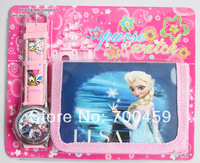 New Free shipping 20 set  Frozen watch Wristwatches and  purses Wallet