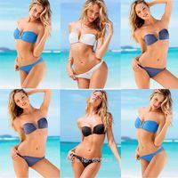 Women's Bikini Sets V Bandeau Strapless Padded Swimwear Sexy swimsuit