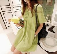 2014 new linen maternity dress loose summer plus size pregnant women dress free shipping c799