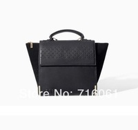 2014 new fashion pattern handbag ladies pu leather black tote handbag famous designers brand handbag balck smile tote