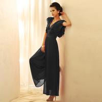 New Arrival ! European Fashion chiffon jumpsuits Elegant trousers wide cuff pants Elegant Overalls for women S M L