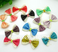 50pcs Mixed Baby Satin Ribbon Polyester Stripe Bowknot Hair Clips Applique DIY Craft Wedding Bow Tie Decoration 3.5x2.2cm