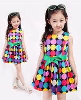4~10Y teenage girl fashion summer dress new 2014 princess dresses for girls colorful polka dot dress with belt kids fashion wear