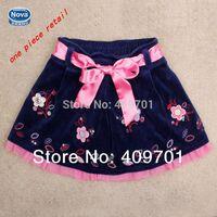 Baby & kids summer skirt Nova brand Kids girl wear spring 2014 fashion above knee mini girl Embroidery flower skirt M4769