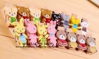Free ship 1lot=12sets/Korean stationery kawaii cute cartoon animal model small wooden clip pupils learn necessary stationery