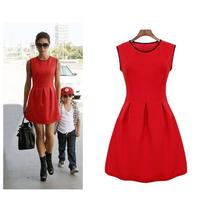 2014 New Spring/Summer Fashion Classic Straight Dress Victoria Beckham Knee-Length Casual Dress Red Thin Waist  Dress