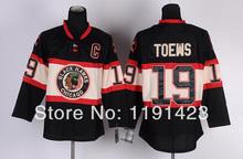 Free Shipping Men's Chicago Blackhawks Hockey Jerseys #19 Jonathan Toews Jersey Black New Third Cheap Stitched Jersey C Patch(China (Mainland))