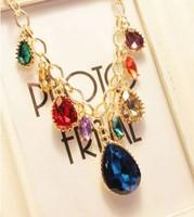 Min order 10USD(Mix order) SJB441 New 2013 Fashion Hot Selling Water Drop Big Gem Stone choker statement necklace wholesale