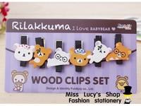 1lot=12sets/Korean stationery kawaii rirakkuma shape wooden clip pupils learn necessary stationery