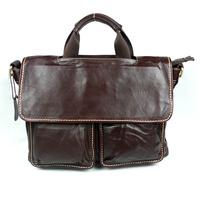 Vintage Genuine Leather Vintage Handbag Bag Men Black Briefcase Laptop Bag Messenger Shoulder Business Bags Man